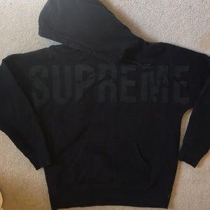 Supreme black logo hoodie